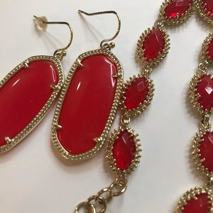 Kendra Red Glass set. Rare Jana bracelet.